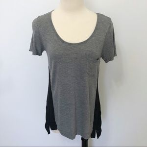 Cynthia Rowley Scoop Neck Pocket Tee Sheer Sides